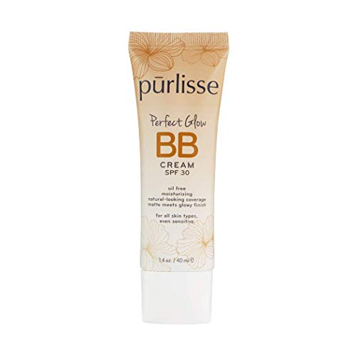 purlisse BB Tinted Moisturizer Cream SPF 30 - BB Cream for All Skin Types - Smooths Skin Texture, Evens Skin Tone - 1.4 Ounce (MEDIUM)