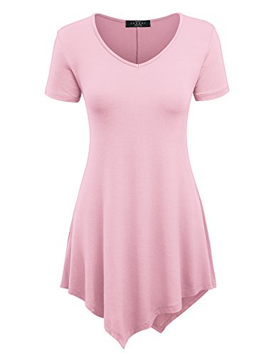 Made By Johnny Women's Casual Short Sleeve Comfy Tunic Swing Dress Loose Blouse Top for Leggings Plus Size XS-5XL