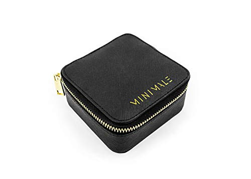Minimale Collective Travel Jewelry Organizer | Small Jewelry Box | Genuine Leather Travel Jewelry Case for Necklaces, Earrings & Rings with Detachable Pouch for Watches & Bracelets (Black Saffiano)