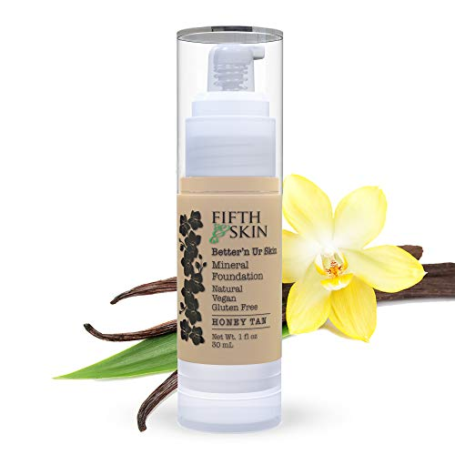 Fifth & Skin (HONEY TAN) Better'n Ur Skin Liquid Foundation – Natural – Organic - Gluten Free - Vegan - Cruelty Free - Palm Free - Natural Sun Protection – Healthy, Buildable Coverage - 1 oz.