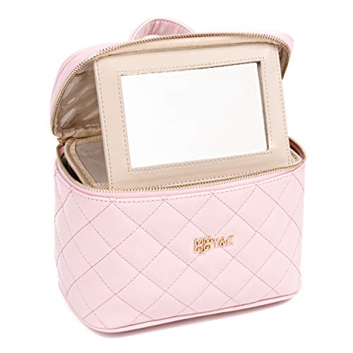 Y&C 2020 Original Vanity Case Collection-Premium Vegan Leather Makeup Bag with Grand Glass Popup Mirror - Travel Makeup Case with Double Metal Zippers - Organizer for Jewelry and Cosmetics - Pink