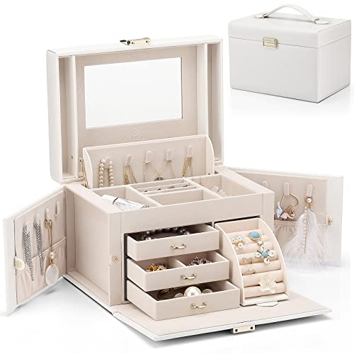 Vlando Faux Leather Jewelry Box Organizer, 6 Colors Available, Vintage Gift Case (White)