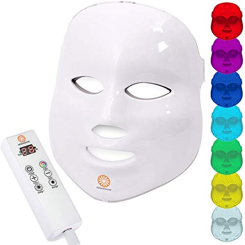 Dermashine Pro 7 Color Wireless LED Mask for Face | Photon Red Light For Healthy Skin Rejuvenation Therapy | Collagen, Anti Aging, Wrinkles | Korean Skin Care, Facial Skin Care Mask, LED Face Mask