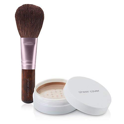 Sheer Cover Perfect Shade Mineral Foundation, Deep / Dark Shade, Patented Pigments, Trueshade Technology for Color Match, Contains Antioxidants and Botanicals, Free Foundation Brush, 4gms