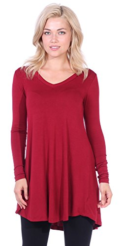 Popana Women's Tunic Tops for Leggings Long Sleeve Shirt Plus Size Made in USA X-Large Burgundy