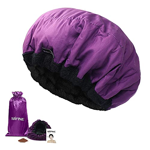 Thermal Heat Cap For Deep Conditioning – Mifine Microwavable heat cap, Cordless Hot Cap for Natural Hair, Hair steamer cap, Flaxseed Seed Interior for Maximum Heat Retention, Universal Size (purple)