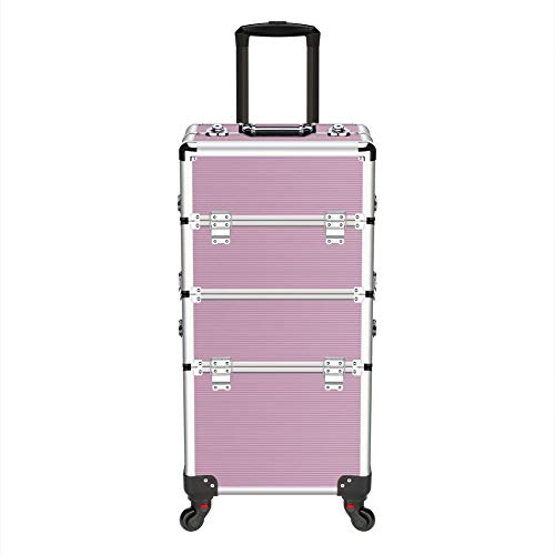 2 in 1 Professional Makeup Case Aluminum Cosmetics Storage Organizer Trolley Rolling Wheels with Locks and Folding Trays, Pink with 20pcs Eye Brushes