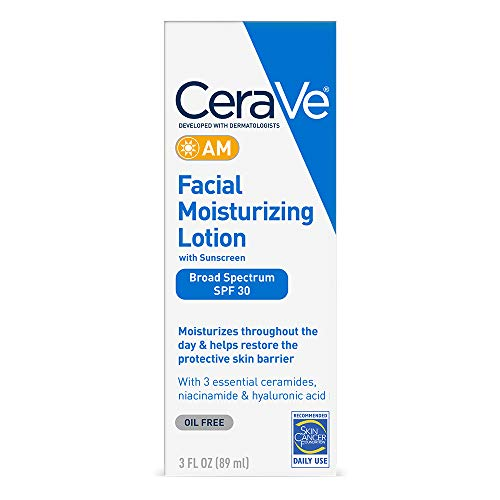 CeraVe AM Facial Moisturizing Lotion SPF 30 | Oil-Free Face Moisturizer with Sunscreen | Non-Comedogenic | 3 Ounce