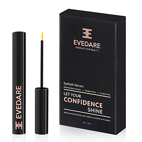 EVEDARE Advanced Eyelash Growth Serum with Enhancing Peptides and Botanical Vitamins for Longer, Thicker, Fuller Lashes, Natural Extracts Improve Strength, Reduce Brittleness