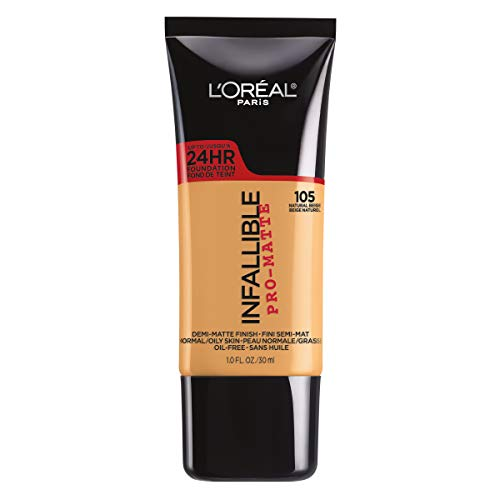 L'Oreal Paris Makeup Infallible Pro-Matte Liquid Longwear Foundation, 105 Natural Beige, 1 fl. oz.