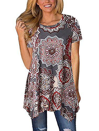 Womens Short Sleeve Floral Print T-Shirt Crew Neck Swing Casual Tunic Tops Blouse (Small, Multi Gray)