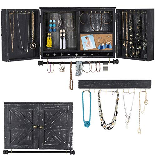 Rustic Wall Mounted Jewelry Organizer with Wooden Barndoor Decor. Jewelry holder for Necklaces, Earings, Bracelets, Ring Holder, and Accessories. Includes hook organizer for hanging jewelry (Brown)