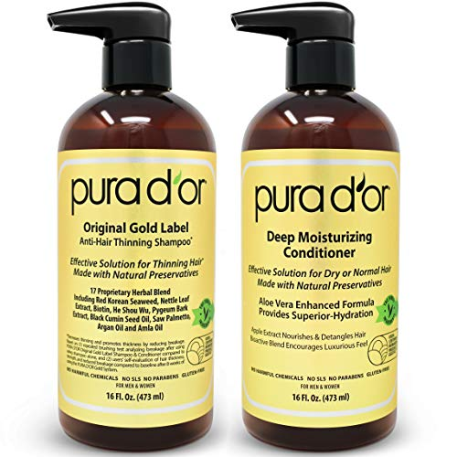 PURA D'OR Biotin Original Gold Label Anti-Thinning (2 x 16oz) Shampoo & Conditioner Set, Clinically Tested Effective Solution with Natural Ingredients, All Hair Types, Men & Women (Packaging may vary)