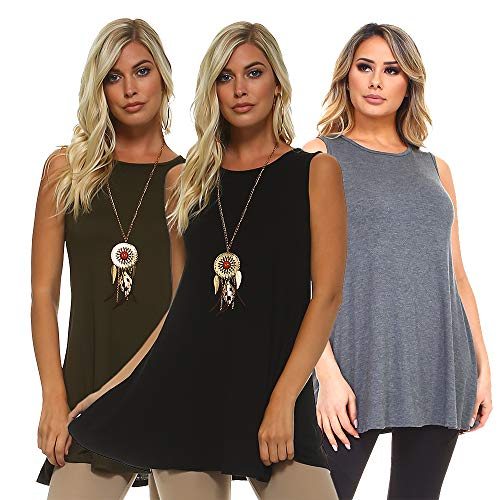 Isaac Liev 3 Pack Women's Sleeveless Tunic – Round Neck Swing Flowy Long Tank Tops (X-Large, Sleeveless Olive, Charcoal & Black)