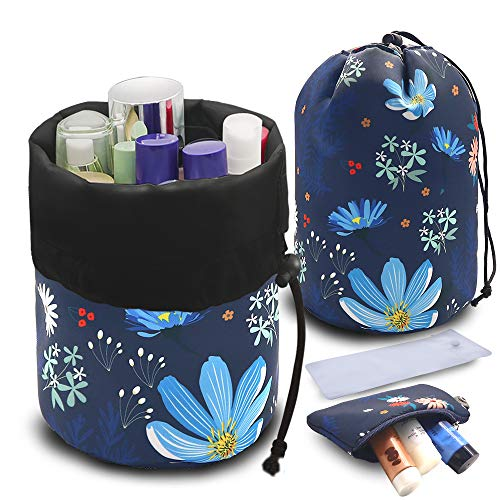 UYRIE Portable Makeup Toiletry Cosmetic Travel Organizer Bag, Large Drawstring Hanging Packing Bag for Women Girl Men, Lightweight Multifunctional Barrel Shaped Storage Bag (Blue Flower)