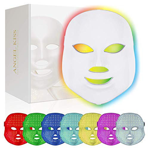 Led Face Mask -Angel Kiss 7 Color Light Therapy Mask - Blue Red PDT Photon Treatment Mask Facial Rejuvenation Firming Lift Anti Aging Skin Tightening Wrinkles Toning Skin Care Mask