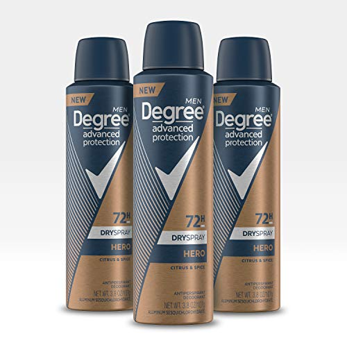 Degree Antiperspirant Deodorant Dry Spray 72 Hour Sweat and Odor Protection Hero Men's Deodorant Spray for Excessive Armpit Sweat, 3.8 oz, Pack of 3