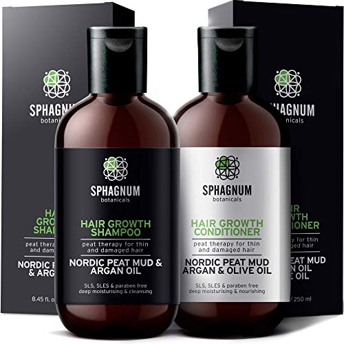 Biotin Hair Growth Shampoo and Conditioner - Natural Argan Oil and Aloe Vera with Peat Mud for Effective Hair Loss Treatment.