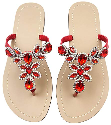 Flat Sandals Summer Flip Flops Shoes,Red T Strap Beach Slippers Shoes Size 9.5-10